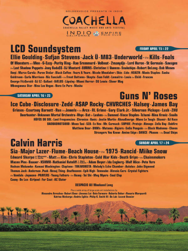Coachella line up 2016