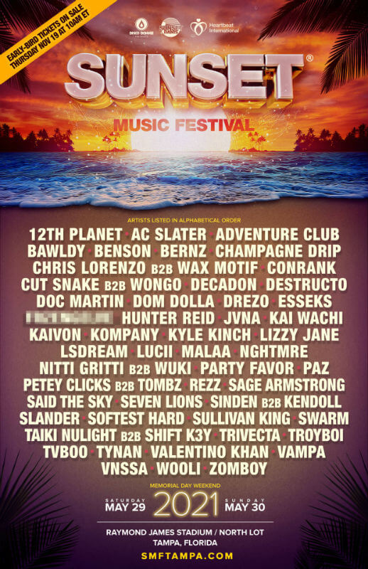 Sunset Music Festival lineup